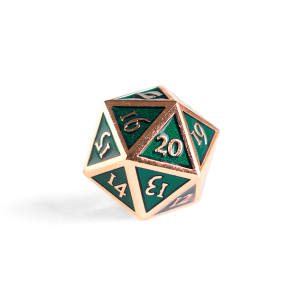 Metal D20 Spindown dice - Emerald Copper
