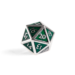 Metal D20 Spindown dice - Emerald Steel