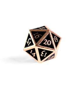 Metal D20 Spindown dice - Jet Copper