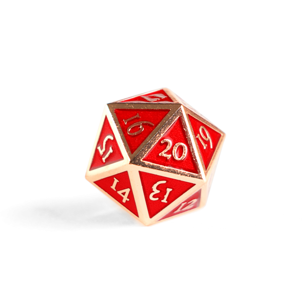 Metal D20 Spindown dice - Ruby Copper