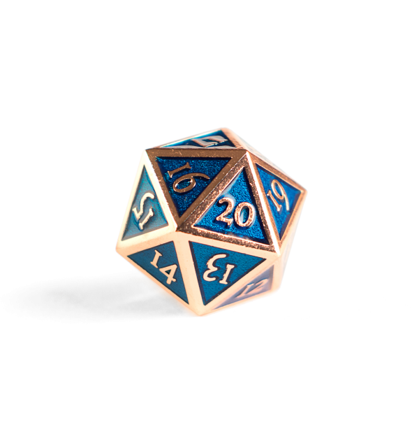 Metal D20 Spindown dice - Sapphire Copper
