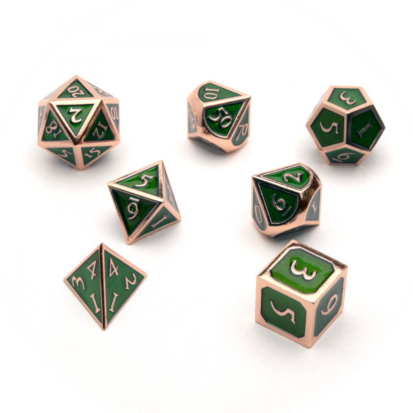 Metal Dice Set - Emerald Copper